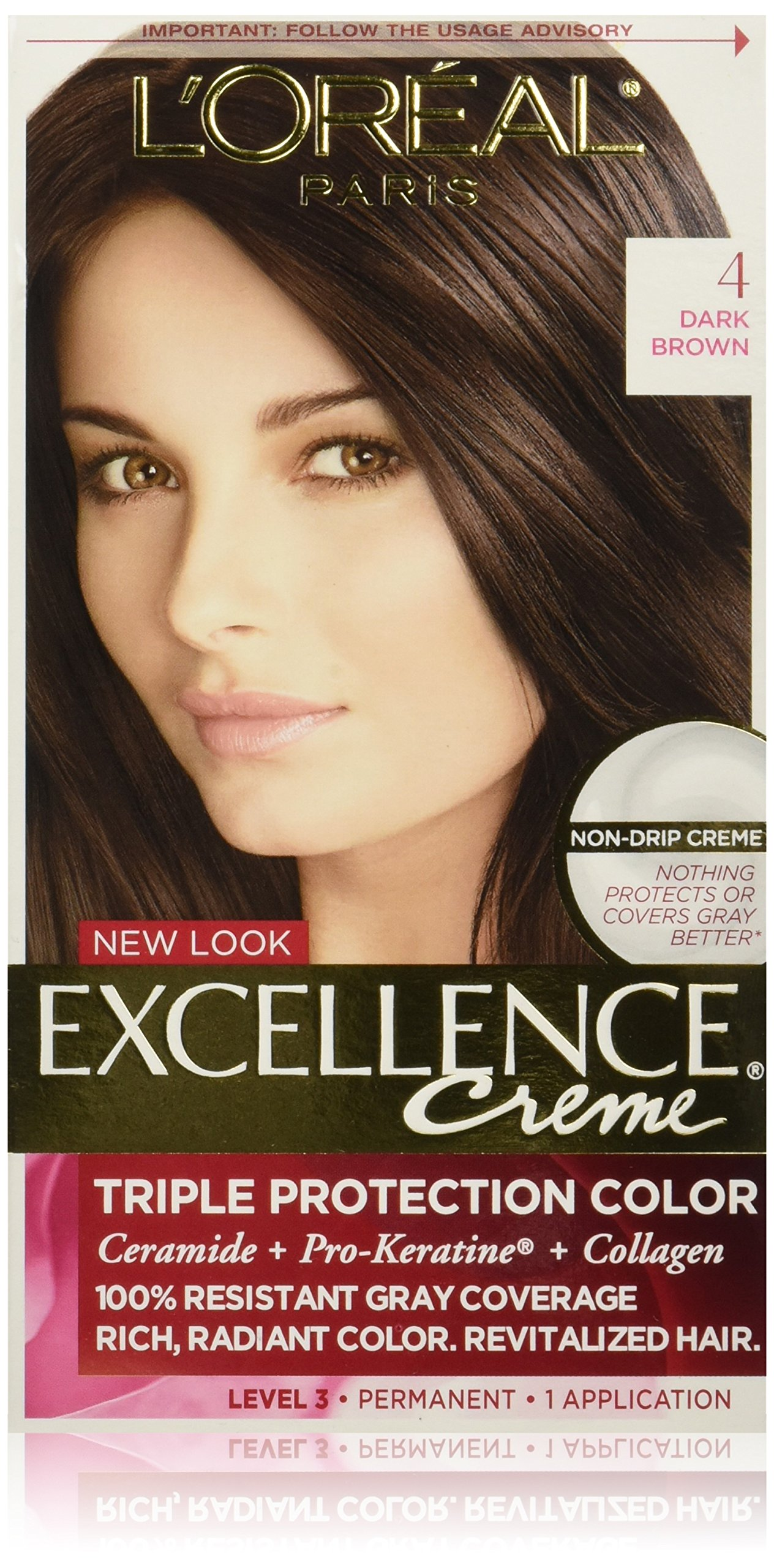 L'Oréal Paris Excellence Créme Permanent Hair Color, 4 Dark Brown