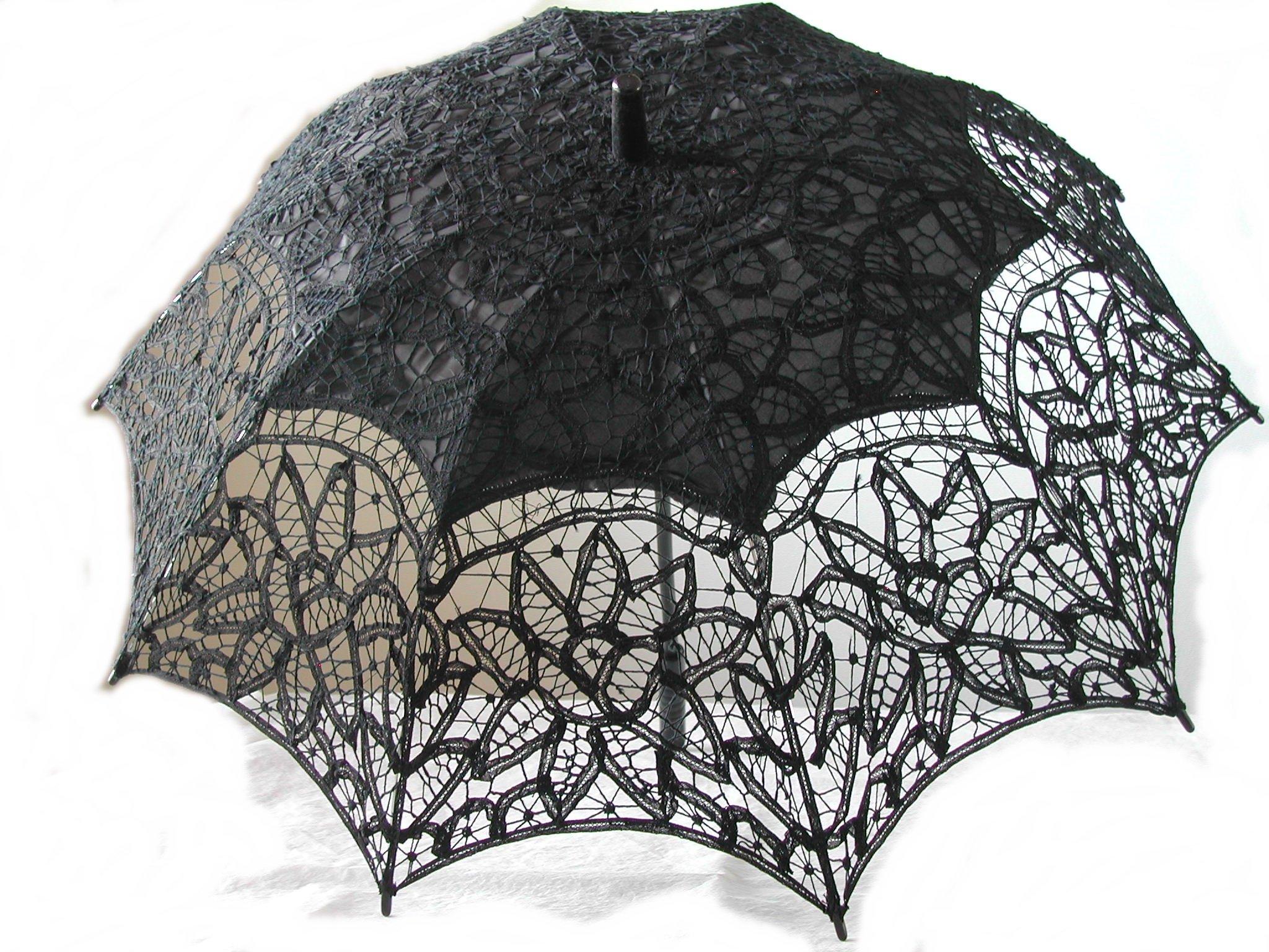 Black Full Battenburg Lace Parasol