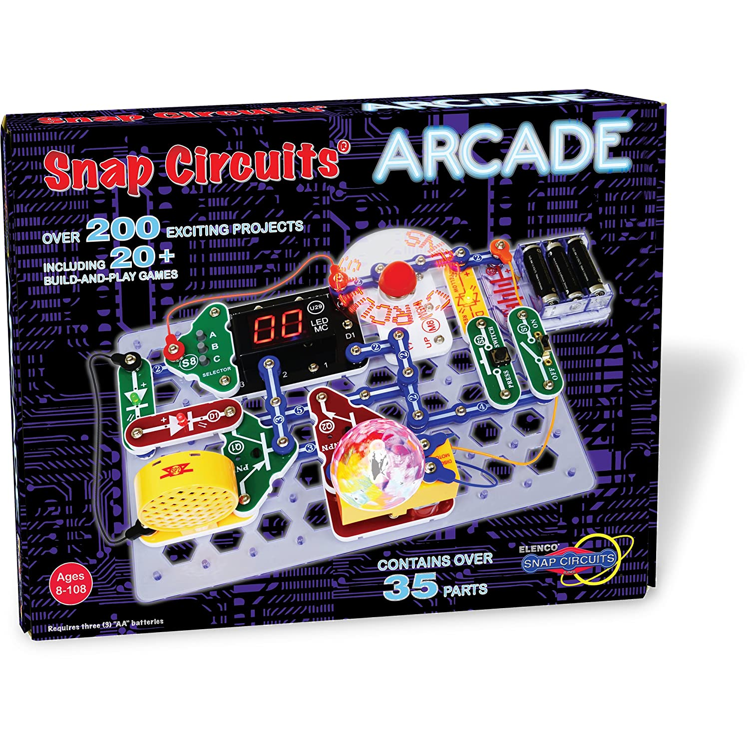 Snap Circuits Arcade Electronics Exploration Kit Over Circuit Construction Simulation Allows Students To Build 200 Stem Projects 4 Color Project Manual 20 And Play Games 35 Modules