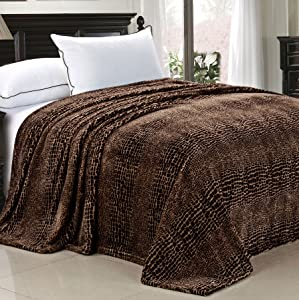Home Soft Things Light Weight Animal Safari Style Chocolate White Croc Printed Flannel Fleece Blanket (Queen)