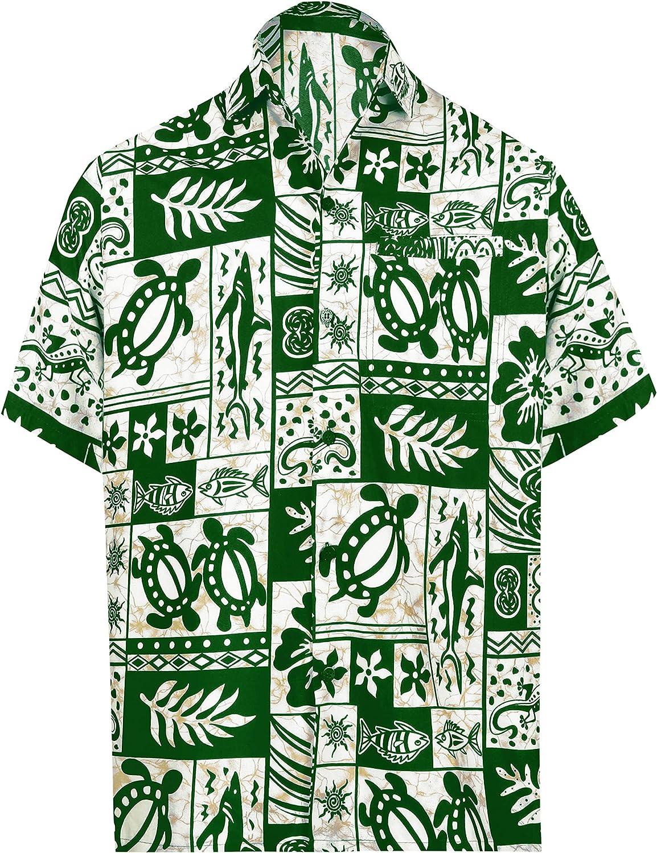 LA LEELA Men's Loose Casual Short Sleeve Aloha Hawaiian Shirt