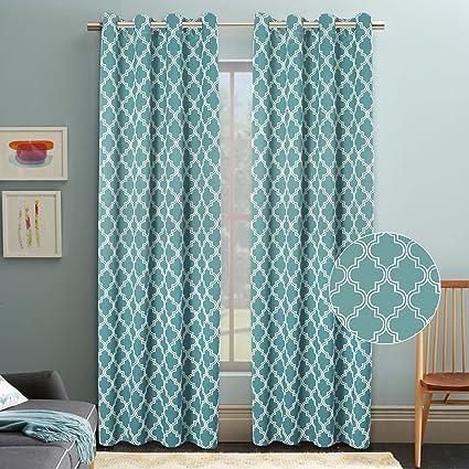 Flamingo P Curtains For Living Room Darkening Moroccan Tile Quatrefoil Blackout Top Grommet Unlined