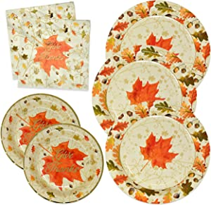 "Thanksgiving Paper Plates and Napkins Disposable for 50 Guests includes 50 10"" Dinner Plates 50 7"" Dessert Plates and 100 Luncheon Napkins in Elegant Gold Foil Fall Design for Autumn Tableware Set"