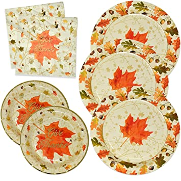 Thanksgiving Paper Plates And Napkins Disposable For 50 Guests Includes 50 10 Dinner Plates 50