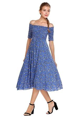 594e2758e727 ELESOL Women s Slash Neck Off Shoulder Flower Print Flare Midi Dress ...