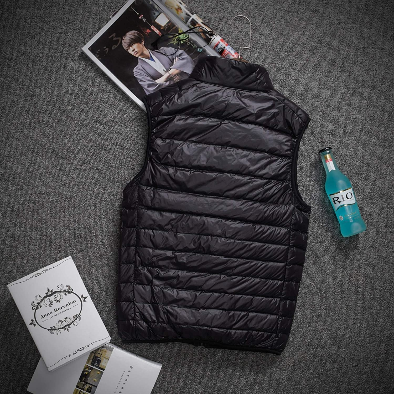 Comaba Men Sleeveless Oversize Comfort Lightweight Pure Color Padded Vest Coats