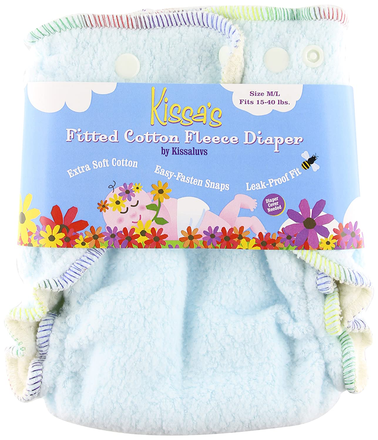 Kissa's Cotton Fleece Fitted Diaper, Sky Blue, 10-40 Pounds Kissaluvs wdmlc-blue