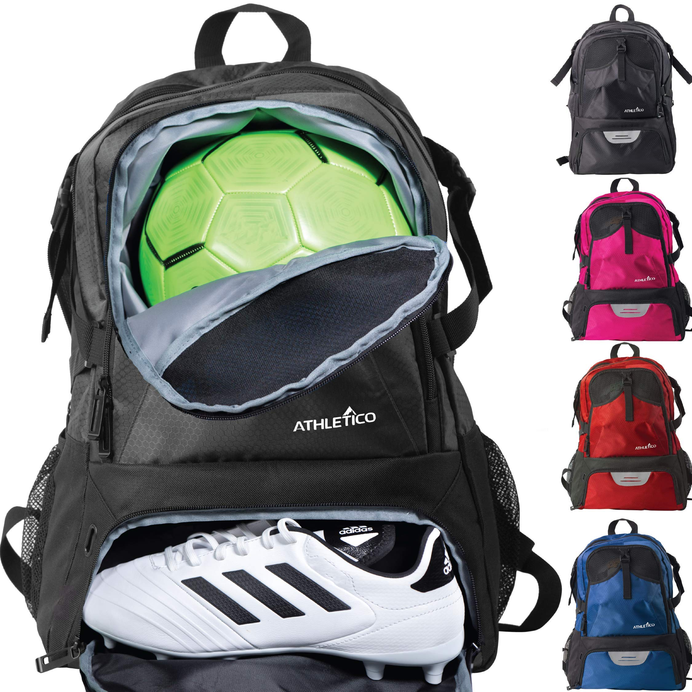 Athletico National Soccer Bag - Backpack for Soccer, Basketball & Football Includes Separate Cleat and Ball Holder (Black) by Athletico
