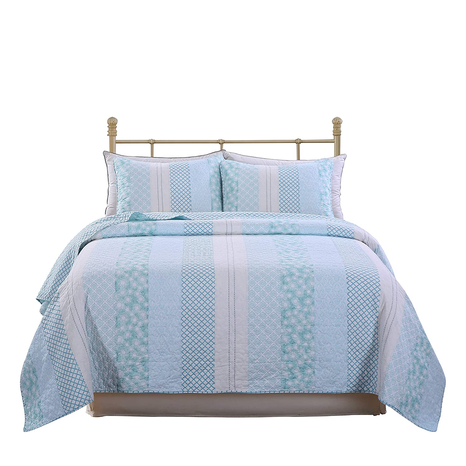 SLPR Coastal Dream 2-Piece Real Patchwork Cotton Quilt Set (Twin) | with 1 Sham Pre-Washed Reversible Machine Washable Lightweight Bedspread Coverlet