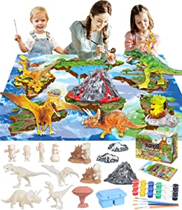45 Pcs Dinosaur Painting Kit Toys For Kids Arts And Crafts Kit - Paint Your Own Dinosaur Toy Party Supplies Toy Dinosaur Figures W/ Play Mat, Kid Paint Dino Toy Set Creativity Gift For Girl Boy Age 3+