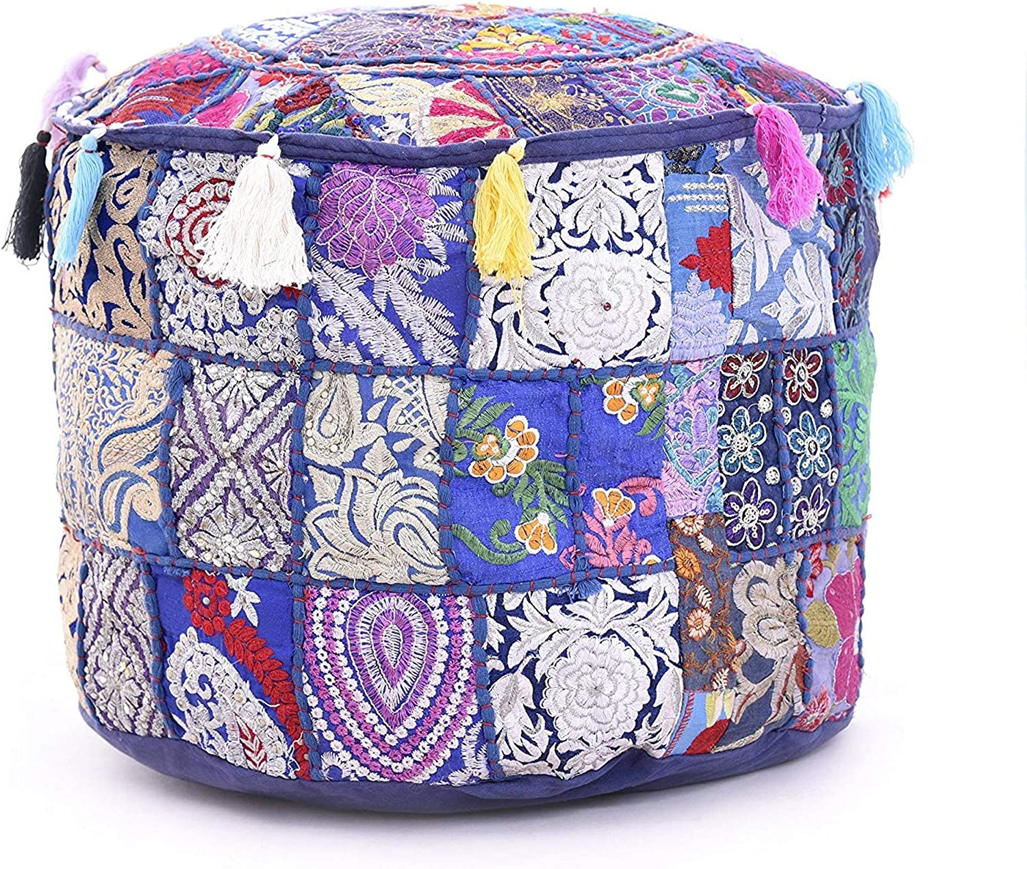 The Art Box Indian Vintage Ottoman Pouf Cover Patchwork Ottoman Living Room Patchwork Foot Stool Cover Decorative Handmade Home Chair Cover Blue Ottoman 14x22 Inch Poufs Helioservice Home Kitchen