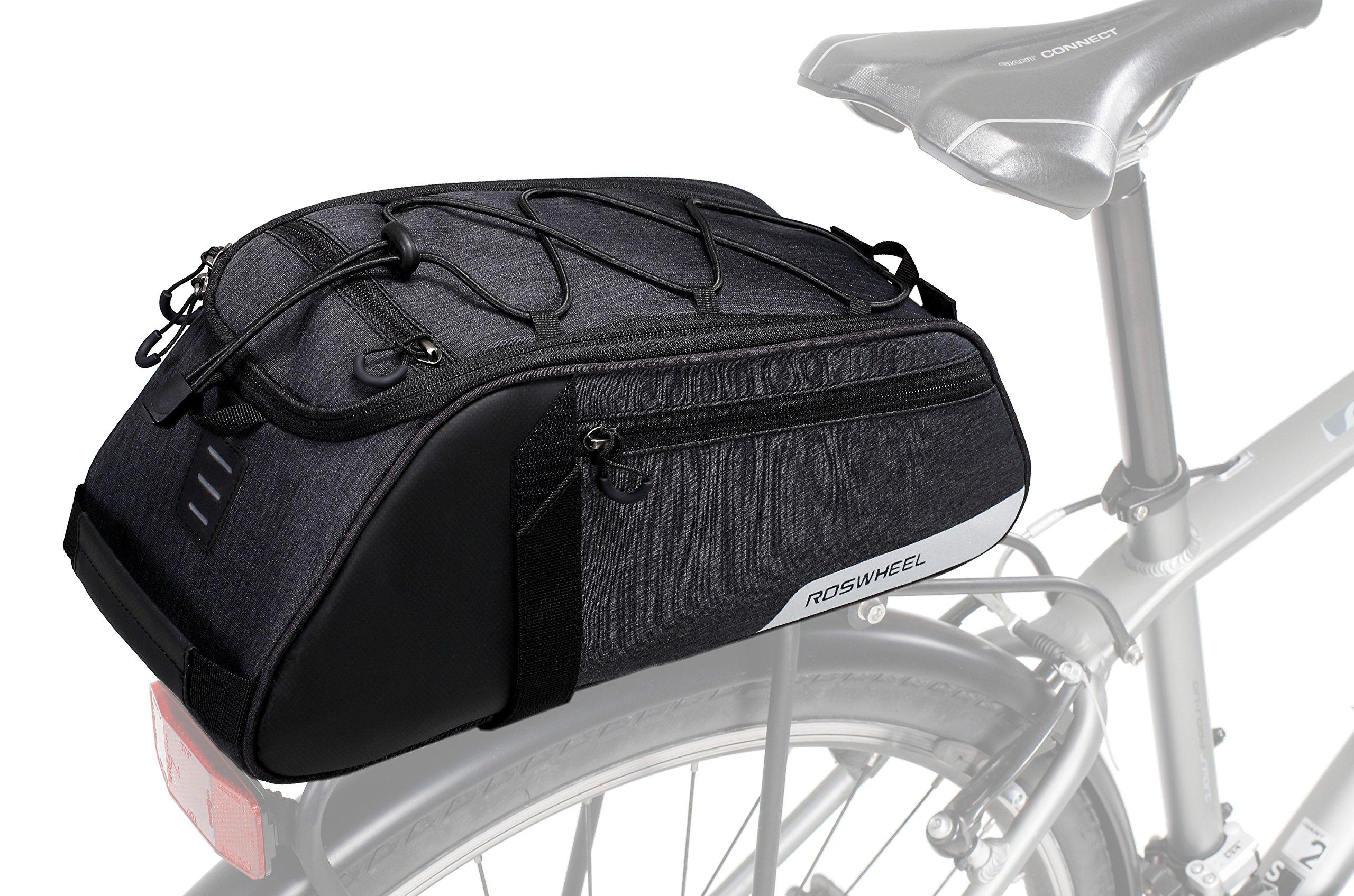 Roswheel Essentials Series 141466 Bike Trunk Bag Bicycle Rear Rack Pack Cycling Accessories Pannier, 8L Capacity