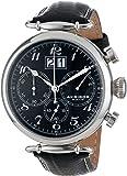 Akribos XXIV Men's AK628BK Retro Chronograph Stainless Steel Black Dial Black Leather Strap Watch
