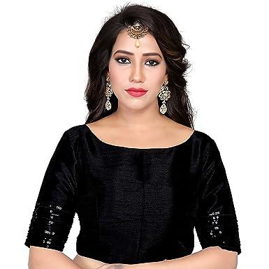 bc46e4f99cb284 Women s Black Art Silk Boat Neck design Readymade Blouse Partywear Saree  Choli Mirchi Fashion Top