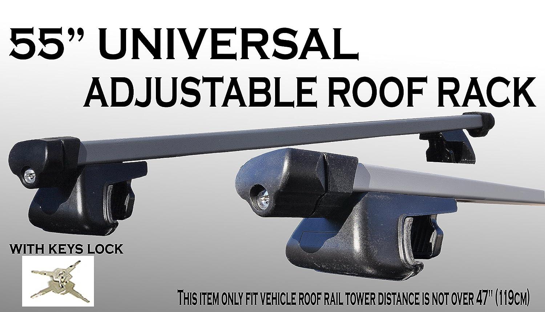 ICBEAMER 55 inch 135cm Aluminum roof Rack top Rail Cross bar Cargo Luggage Key Locks Measure Required Prior Purchase