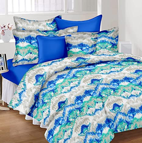 d2d1fe9bdc3 Ahmedabad Cotton 144 TC Cotton Double Bedsheet with 2 Pillow Covers - Blue  and Green  Amazon.in  Home   Kitchen