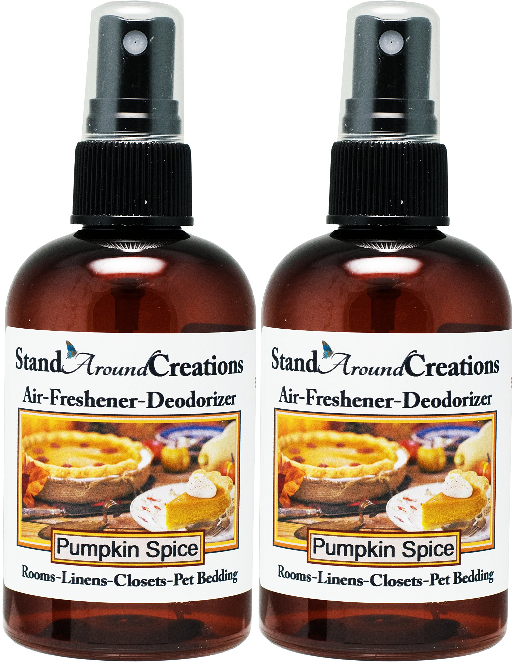 Set of 2 - Concentrated Spray For Room/Linen/Room Deodorizer/Air Freshener - 4 fl oz - Scent: Pumpkin Spice by Stand Around Creations