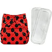 Bumberry Reusable Diaper Cover and 2 Wet Free Inserts (3-36 Months) (Lady Bug) (Multicolor)