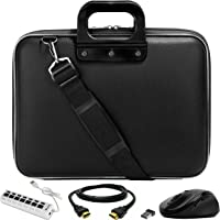 "SumacLife Cady Black Laptop Bag w/ HDMI Cable, Mouse, & USB Hub for HP ChromeBook / EliteBook / Envy / Pavilion / ProBook / Spectre / Stream / ZBook / Thin Client 13"" to 14inch"