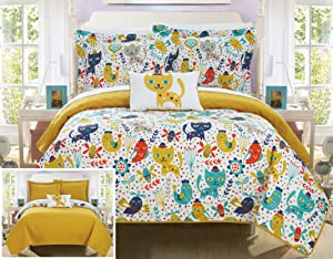 Chic Home Trixie 4 Piece Reversible Quilt Set Cute Animal Friends Youth Design Coverlet Bedding - Decorative Pillow Shams Included Size, Full, Yellow