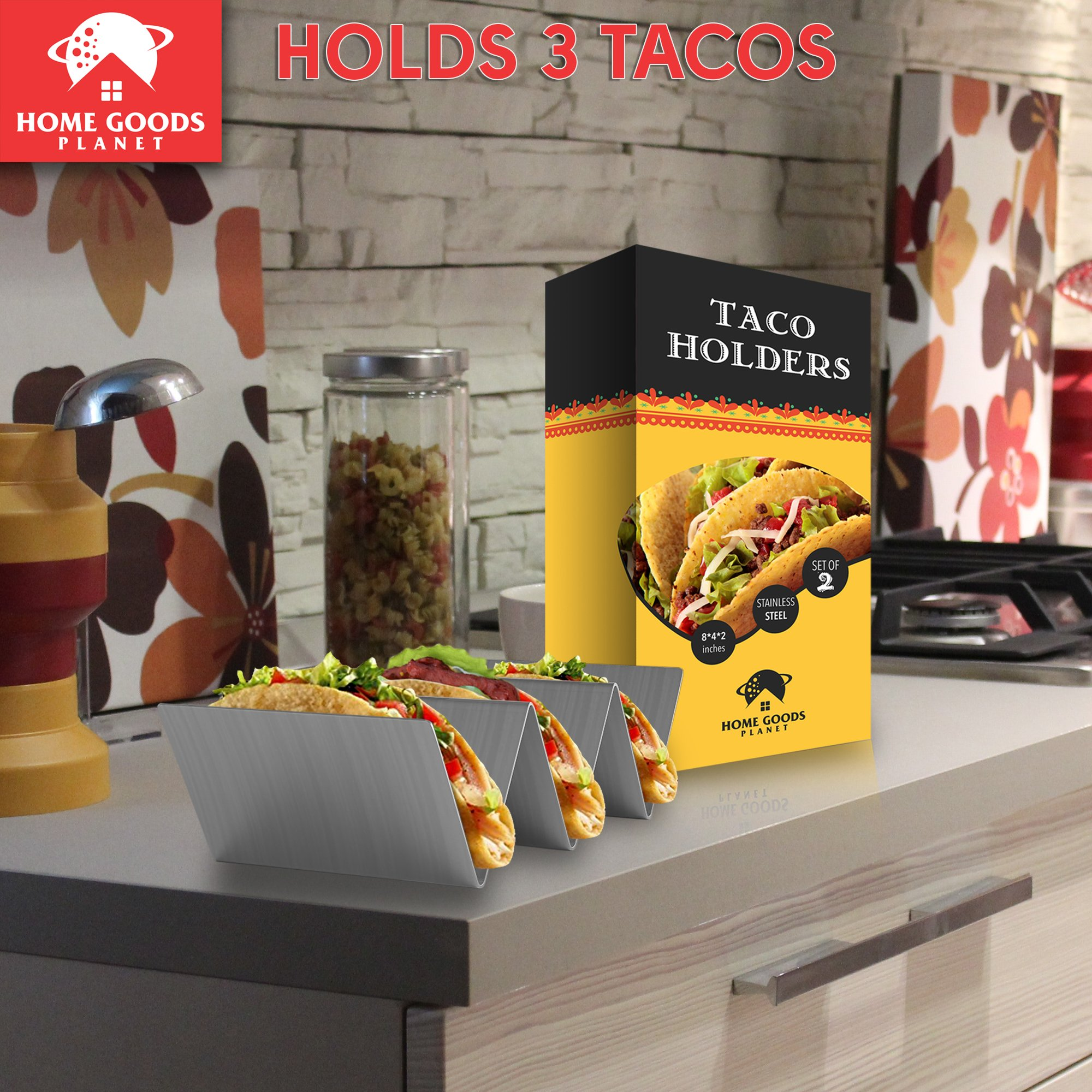 Taco Holder - Set of 2 Shell Racks - Stainless Steel Durable Taco Stand Tray - Ideal for Hard or Soft Shell Tacos - Oven & Dishwasher Safe Tacos Serving Tray or Taco Platter - Includes Recipe e-book by Home Goods Planet (Image #3)