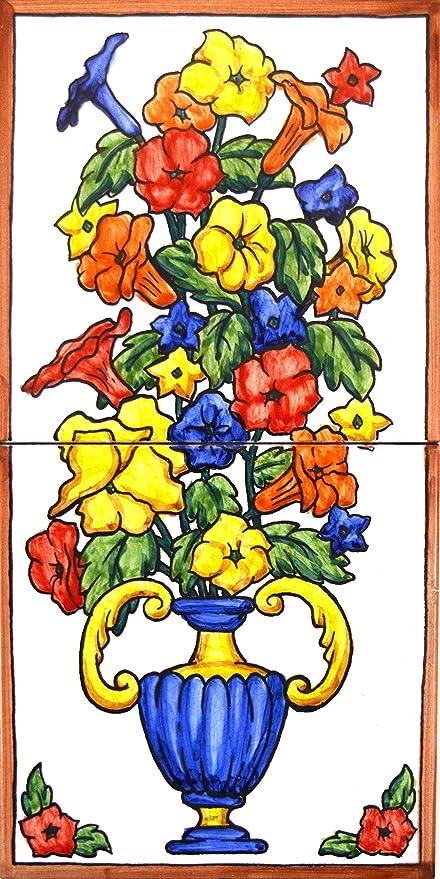 Fiori Di Ceramica.Mural Vaso Di Fiori Fiori Di Ceramica Dipinto A Mano 15