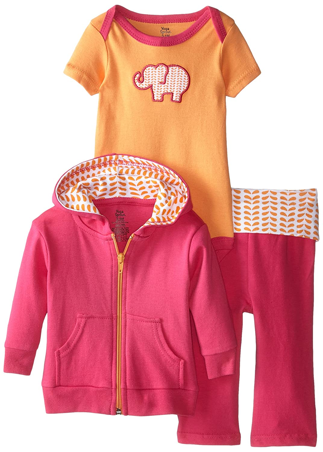 Yoga Sprout Baby Girls' 3 Piece Jacket, Bodysuit and Pant Set 90055