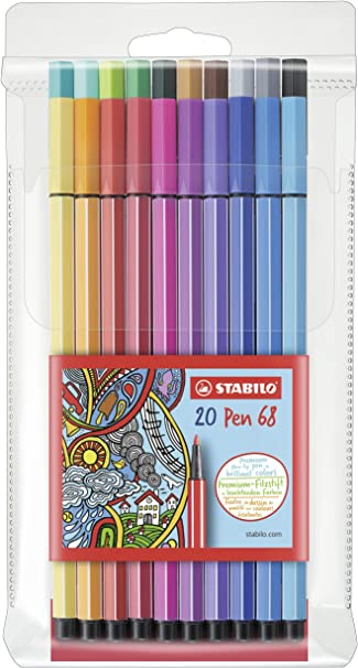 Pack of 20 Premium Fibre Felt Tip Adult Colouring 1.0mm Pens Stabilo Pen 68