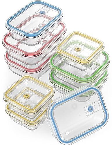 Szklane pojemniki do przechowywania żywności Vremi 18 sztuk z zamykanymi pokrywami