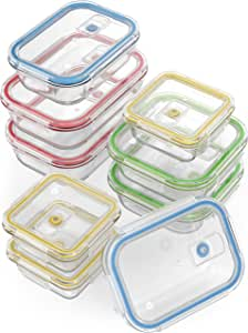 Vremi 18 Piece Glass Food Storage Containers with Locking Lids - BPA Free Airtight Oven Freezer Dishwasher and Microwave Safe Food Container Set - Small and Large Reusable Square Food Containers