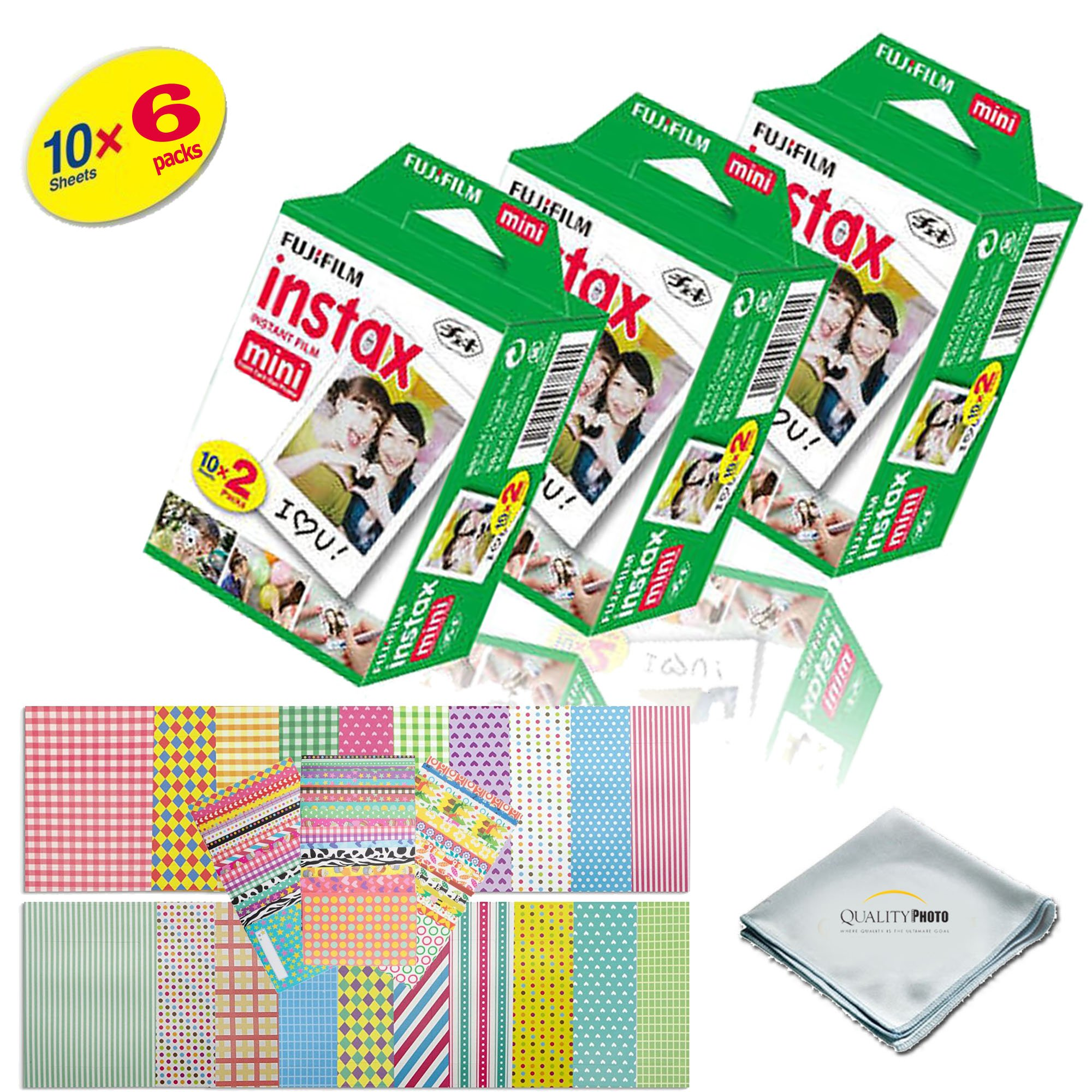 Fujifilm INSTAX Mini Instant Film 2 Pack - 60 SHEETS - (White) For Fujifilm Instax Mini 8 & Mini 9 Cameras + Frame Stickers and Microfiber Cloth Accessories …