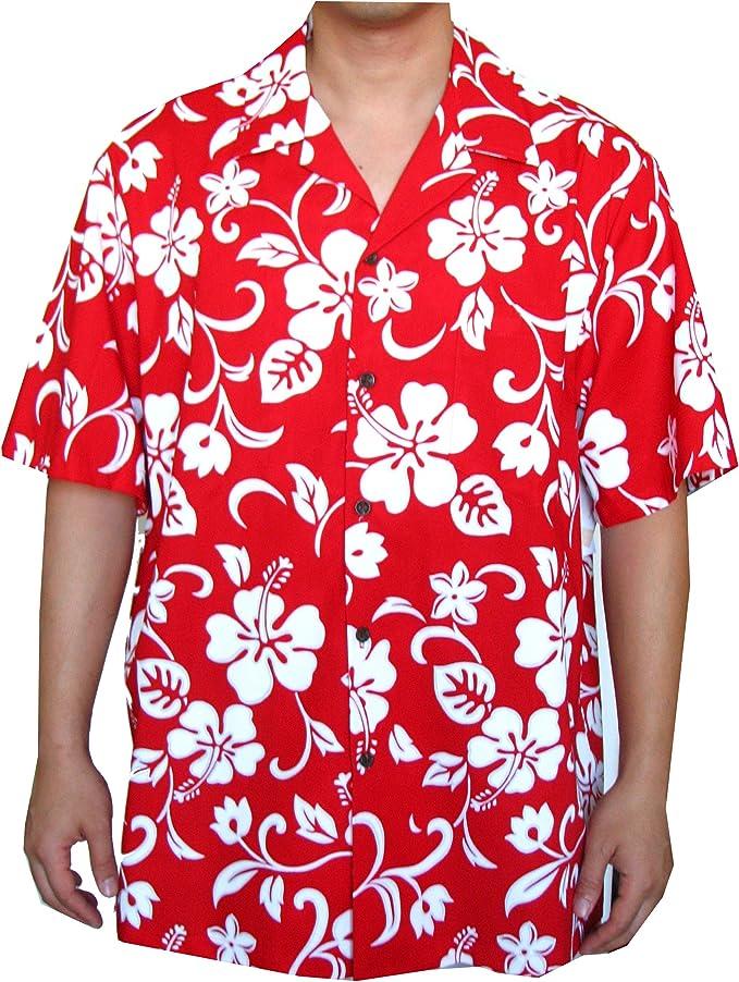 RJC Hibiscus Hawaiian Aloha Shirt, L, Red