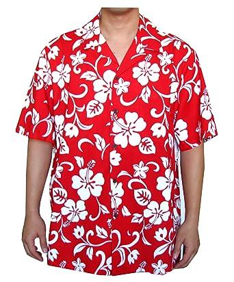 31e0dd8b RJC Top Quality Hibiscus Hawaiian Aloha Shirt, L, Red at Amazon ...