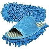 Friendly House Women's Microfiber Floor Cleaning Mop Slippers (Blue)