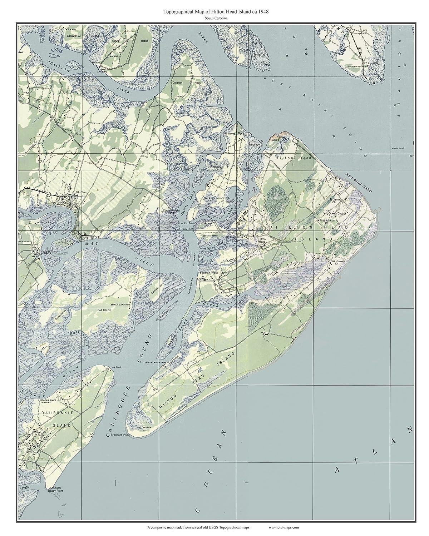 Amazon.com: Hilton Head Island 1948 Old Topographic Map USGS Custom ...