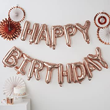 Ginger Ray Rose Gold Happy Birthday Balloon Party Bunting