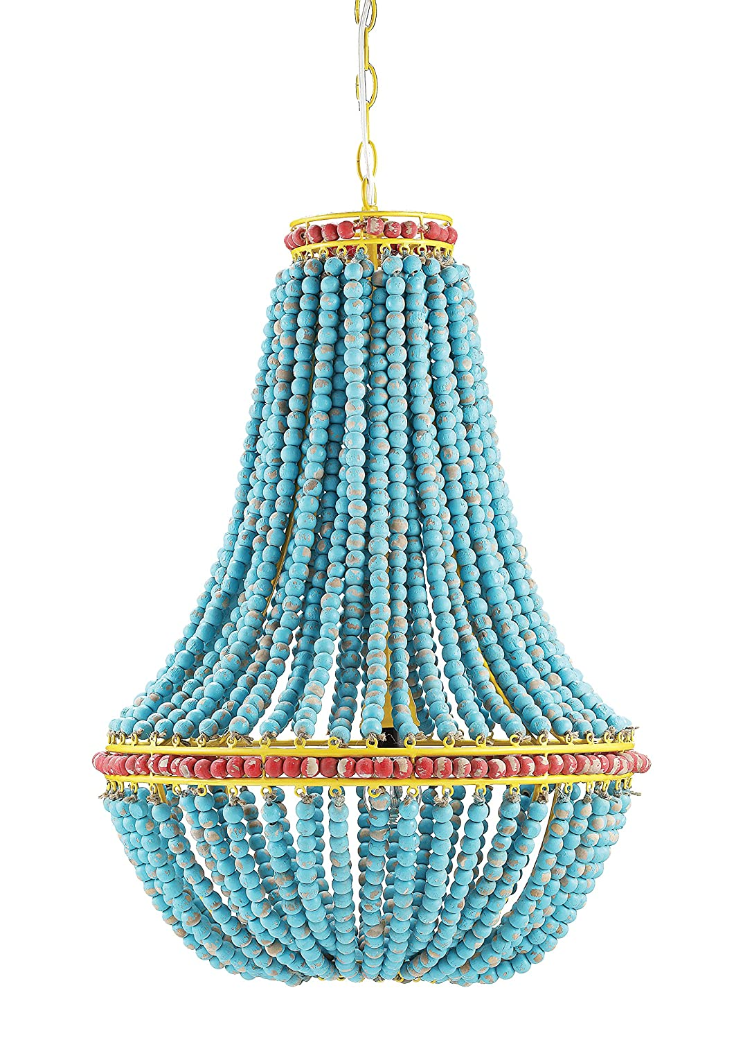 Amazon creative co op wood beaded chandelier 175 round by 26 amazon creative co op wood beaded chandelier 175 round by 26 height blue home kitchen arubaitofo Gallery