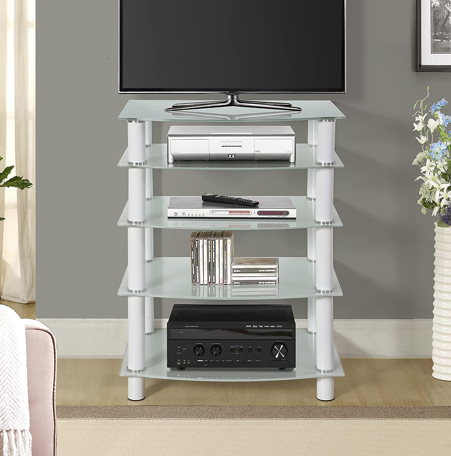 Naomi Home 5 Tier Glass AV Component Media Stand White White