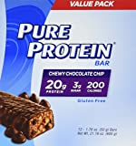 Pure Protein High Protein Bar Chewy Chocolate Chip 1.76-Ounce Bar (Pack of 12), Protein Bars, 20 Grams of Protein, Gluten Free