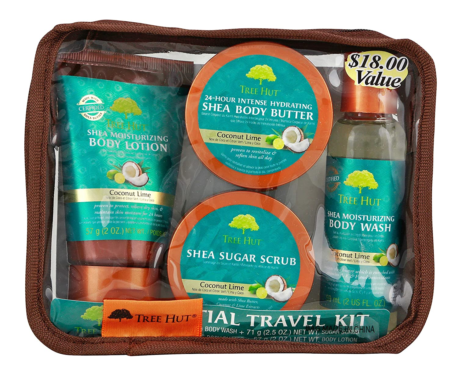 Kit Karte.Tree Hut Essential Travel Kit Coconut Lime 4 Items In One Bag For Nourishing Essential Body Care On The Go