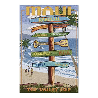 Maui, Hawaii - Destination Signpost 101506 (Premium 1000 Piece Jigsaw Puzzle for Adults, 20x30, Made in USA!): Toys & Games