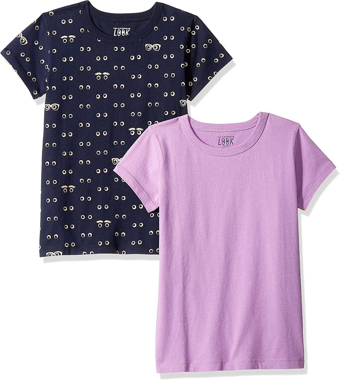 // J Crew Brand LOOK by crewcuts Girls 2-Pack Print//Solid Short Sleeve T-Shirt