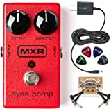 MXR M102 Dyna Comp Compressor Pedal BUNDLED WITH 2 Pack of Blucoil Pedal Patch Cables, Power Supply Slim AC/DC Adapter for 9 Volt DC 670mA AND 4 Celluloid Guitar Picks
