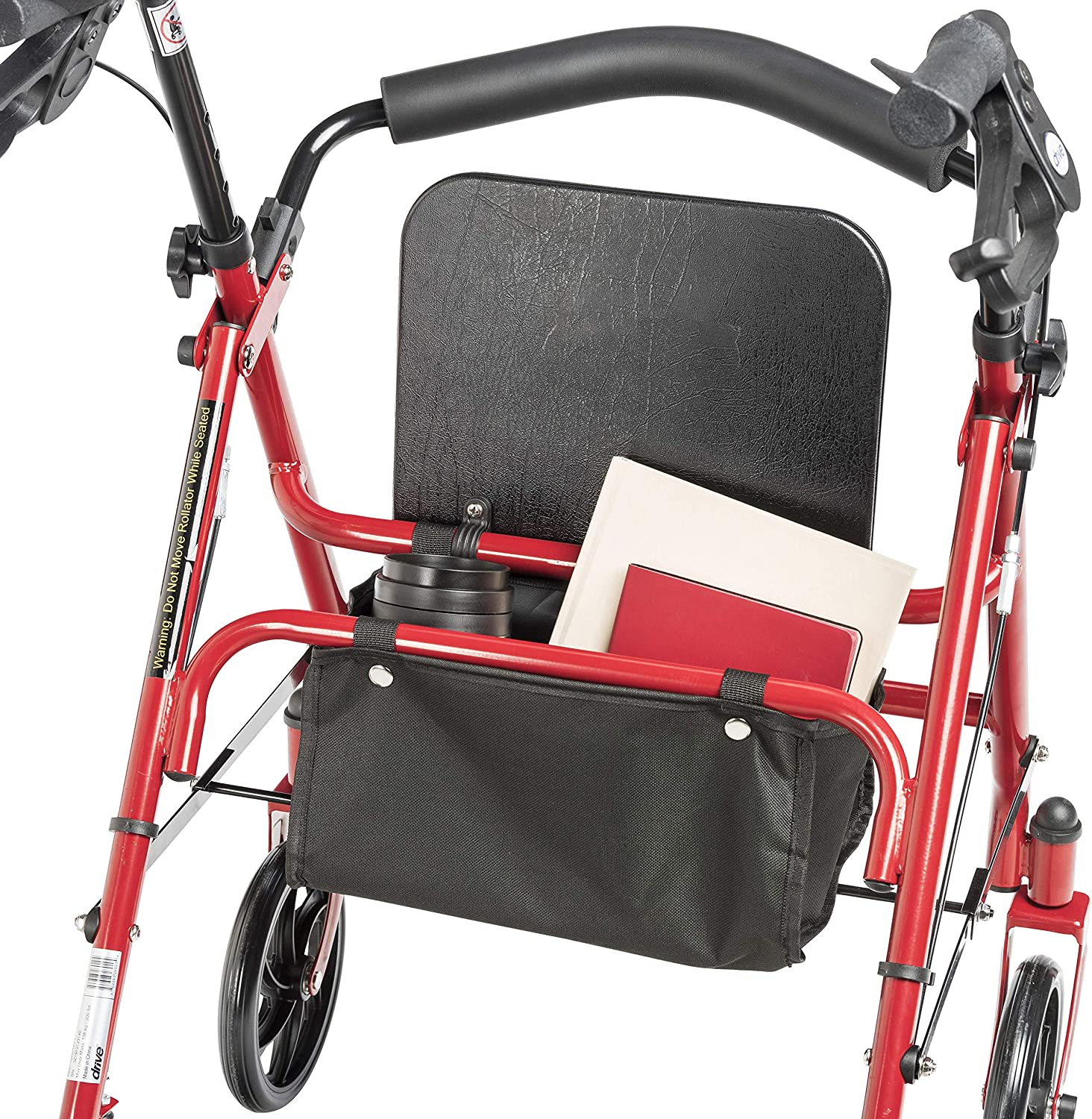 Drive Medical Four Wheel Rollator with Fold Up Removable Back Support, Red: Health & Personal Care
