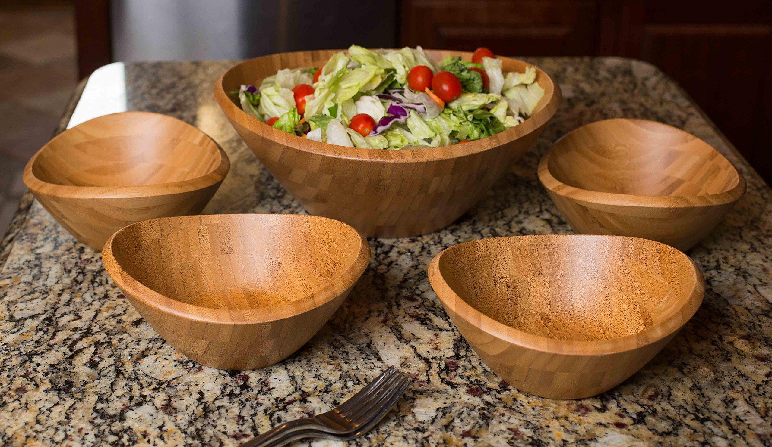 BirdRock Home Bamboo Salad Bowl Set | Set of 5 | Wooden Stackable Bowls for Salad, Pasta, Fruit | Kitchen Bowl Set