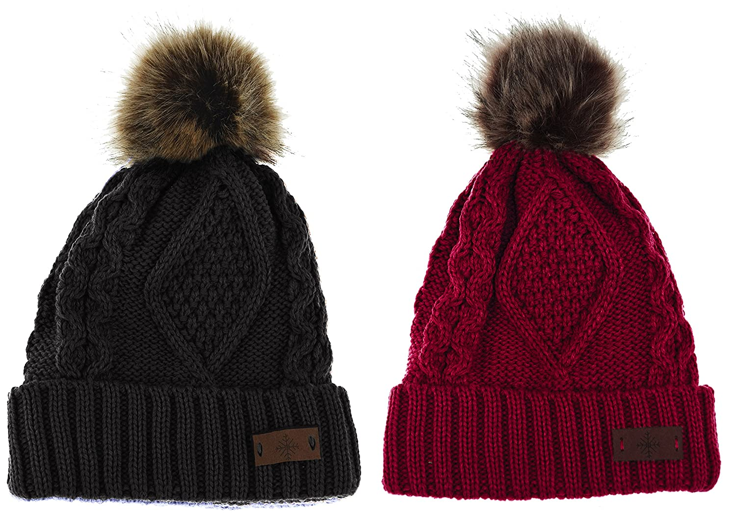 515ba3eb904 Women s Faux Fur Pom Pom Fleece Lined Knitted Slouchy Beanie Hat (2-Pack  Black) at Amazon Women s Clothing store