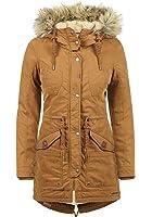 DESIRES Liv Damen Parka lange Jacke Winter-Mantel mit Fell-Kapuze und Teddy-Futter aus hochwertiger Baumwollmischung