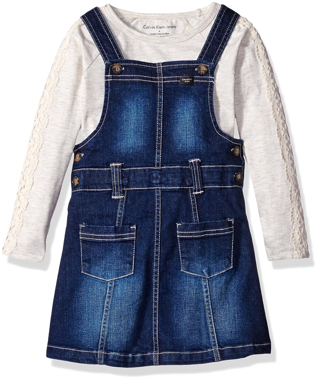 882a8b4e66d Calvin Klein Girls' Denim Jumper with Tee Set Dress
