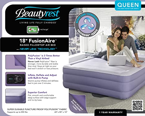 amazoncom simmons beautyrest fusion aire inflatable air mattress air bed with internal pump queen home u0026 kitchen