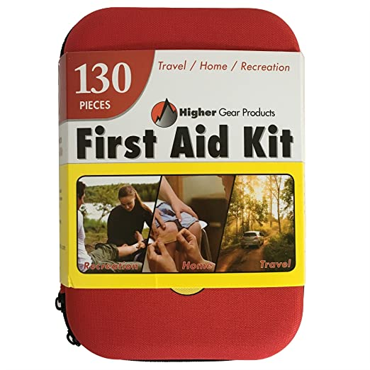 First Aid Kit for Car, SUV and Marine by Higher Gear - 130 Pieces, Hard Shell Case - Perfect Emergency Kit for Home, Businesses, Travel, Hiking, Backpacking, Camping and Sports + Bonus eBook best first aid kits